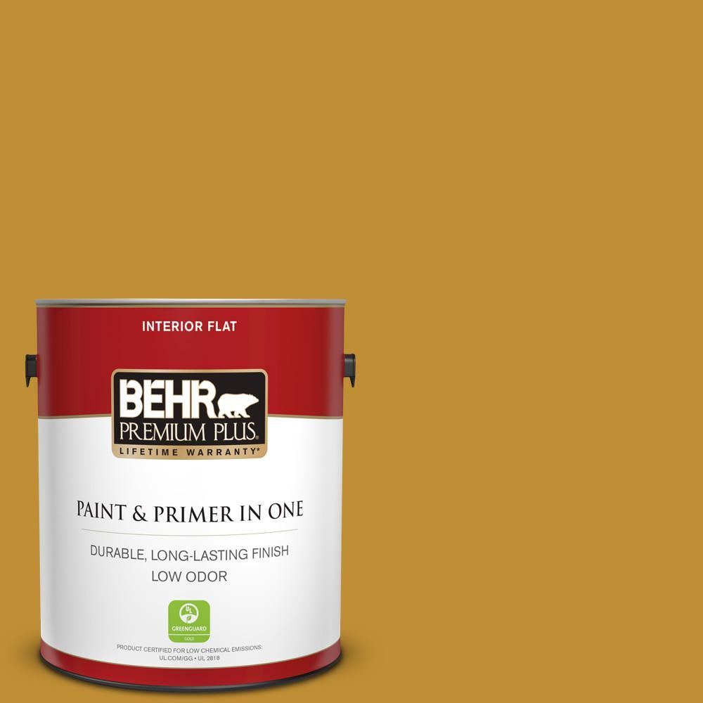 Behr Premium Plus 1 Gal M290 7 Turmeric Flat Low Odor Interior Paint And Primer In One Red Painting Trim Exterior Paint Masonry