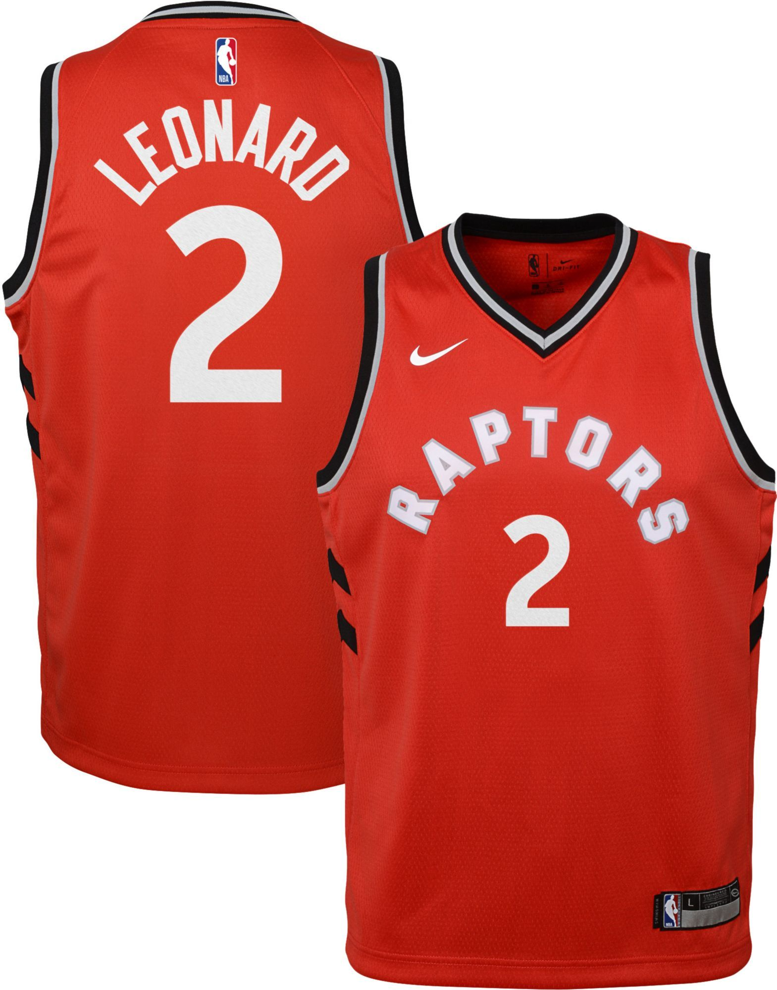 7176a08ea57 Nike Youth Toronto Raptors Kawhi Leonard #2 Red Dri-FIT Swingman Jersey