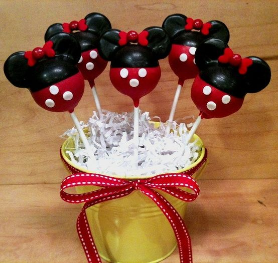 Minnie Mouse Cake Pops    Dip once in red melts. Stick mini Oreo cookie (half with icing removed) on top for ears. Allow to harden then re-d...