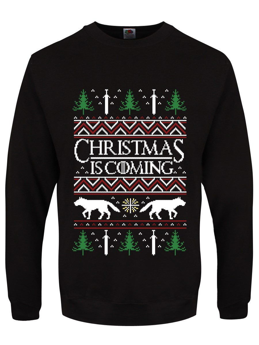 Christmas Is Coming Men's Black Christmas Jumper in 2020