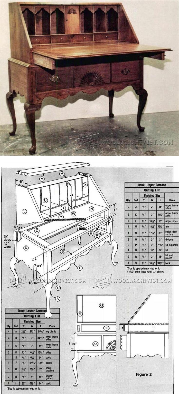 Secretary Desk Plans Furniture Plans And Projects Woodarchivist Com Woodworking Furniture Plans Woodworking Projects Diy Woodworking Projects Desk