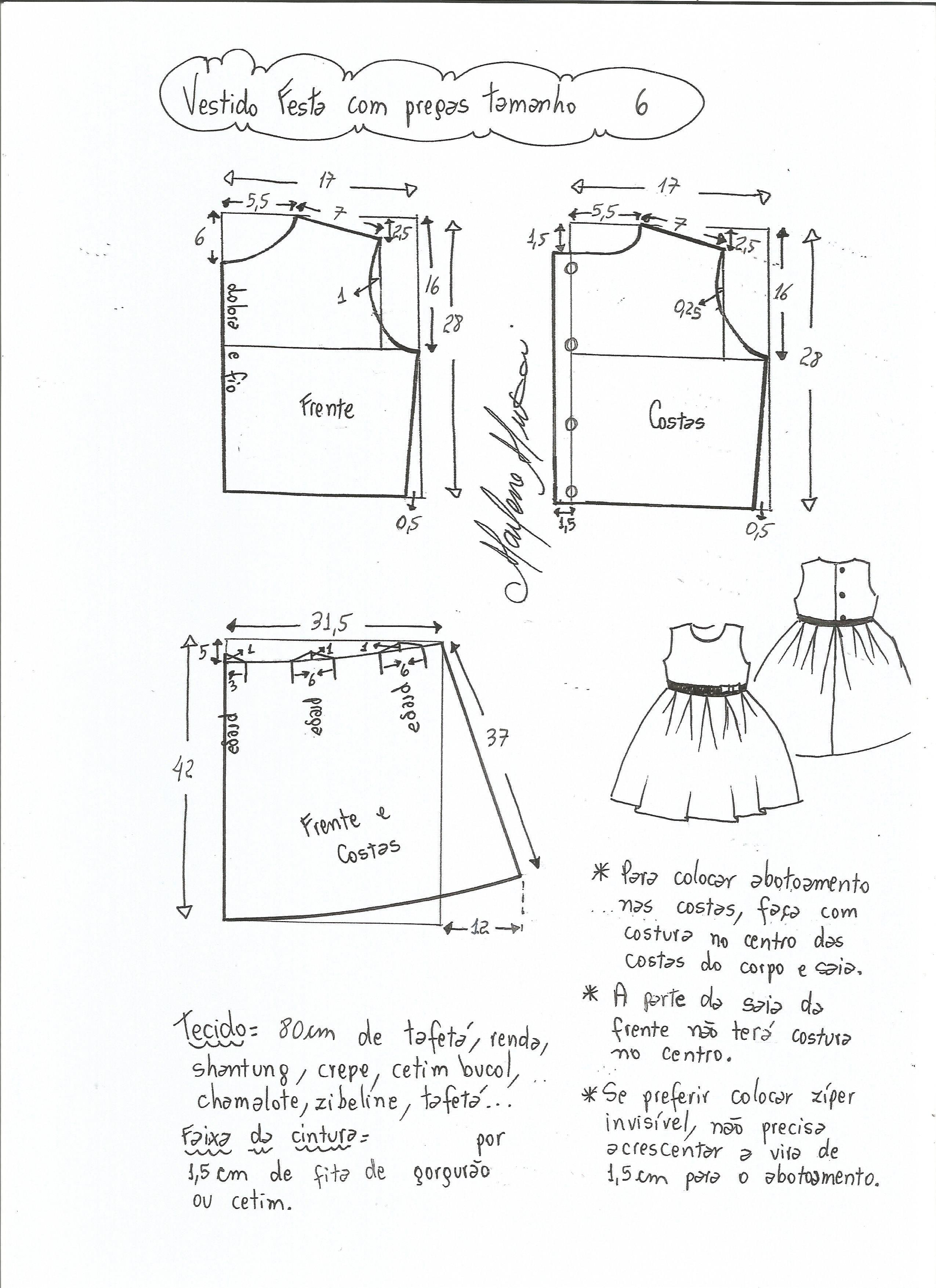 Patrón vestido de fiesta para niña con la falda plisada   patronaje ...