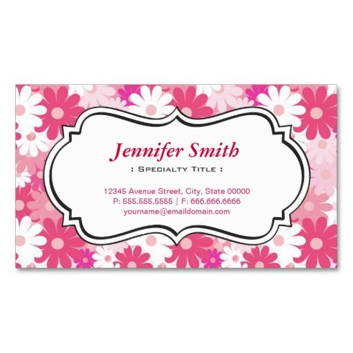 Lovely Magenta Pink Daisy - Simple Elegant Floral Business Card Templates