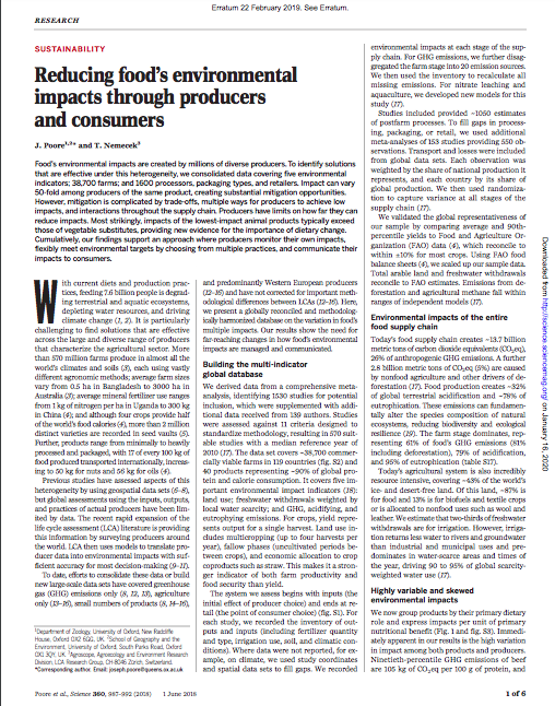 Poore Joseph And Thomas Nemecek Reducing Food S Environmental Impacts Through Producers And Consume Environmental Impact Life Cycle Assessment Ghg Emissions