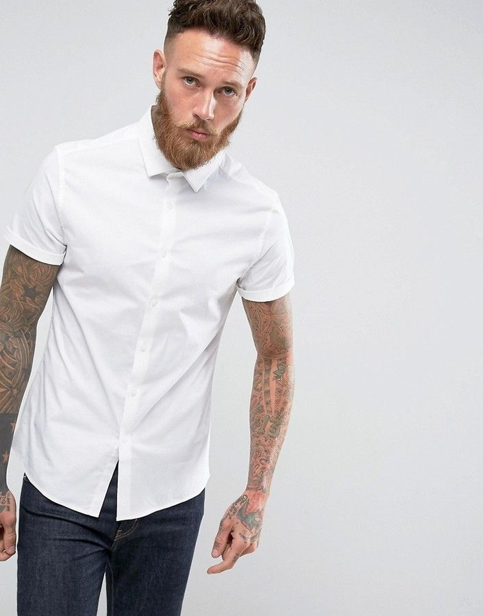 d64c1af6747b6 DESIGN skinny shirt in white with short sleeves
