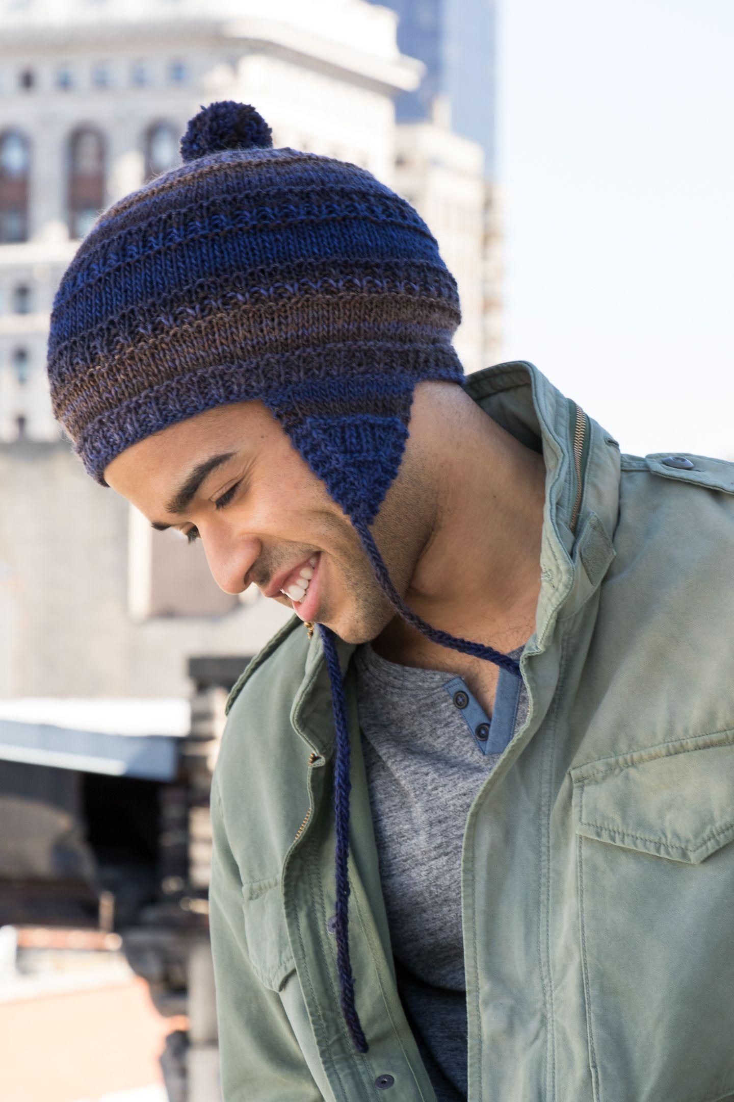 Adult PomPom Earflap Hat in NAVAJO | Mens earflap hat ...