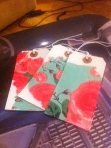 gift labels using decoupage napkins - http://thegallerylondon.org/Vintage-Boutique/gift-labels/