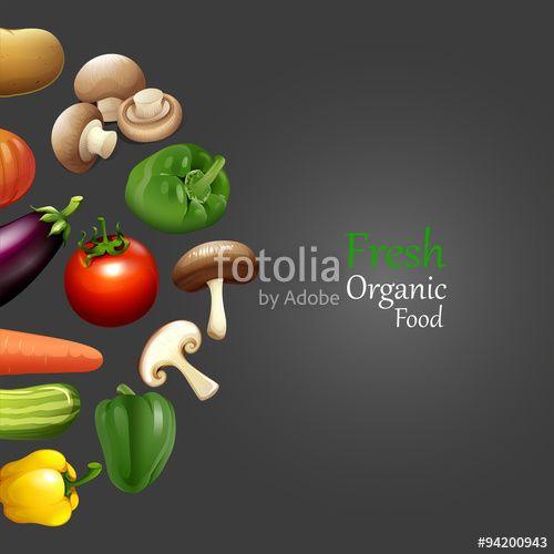 ベクター: Paper design with fresh organic food点