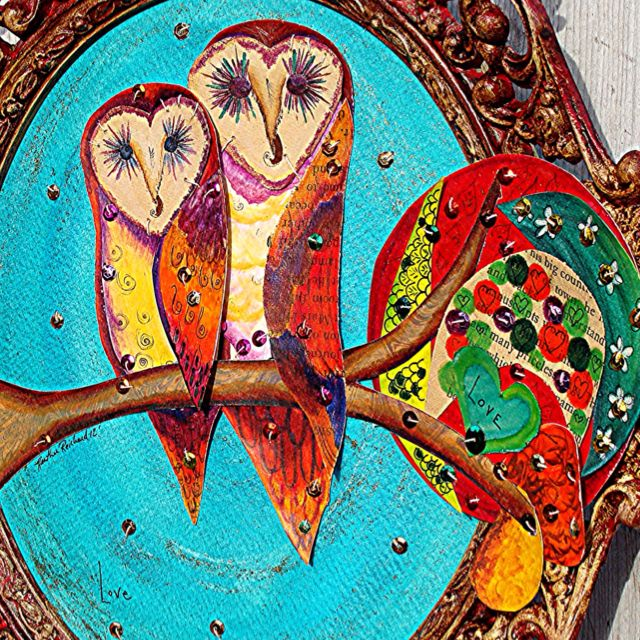 Recycled material collage. Vintage book pages, vintage thread, vintage sequins, Watercolors, colored pencil, pen. Barn owls in Love.