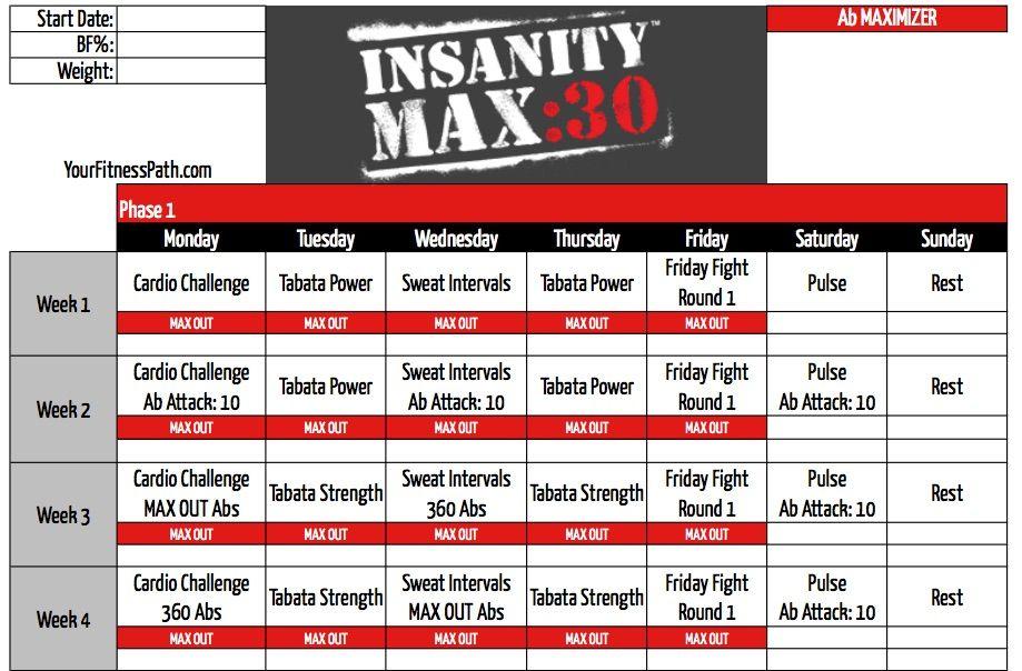 Insanity MAX30 Calendar - Ab Maximizer exercise Pinterest