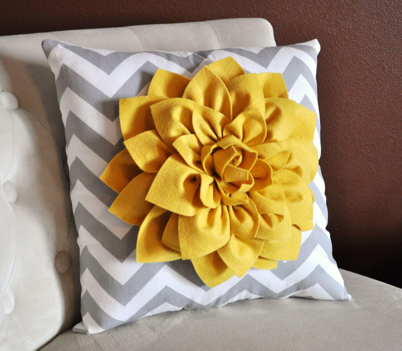 Mellow Yellow Dahlia on Gray and White Zigzag Pillow -Chevron ...