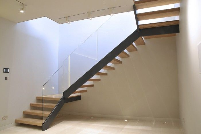 Beautiful This Simple And Cost Effective Stair Was Constructed In Powder Coated Mild  Steel Carriage, Toughened Glass Balustrade And Hardwood Timber Treads.