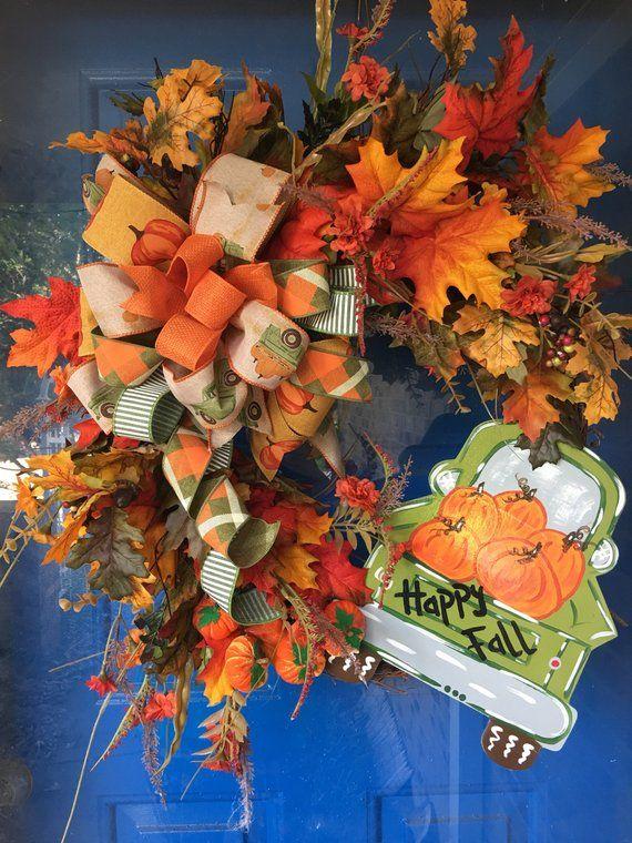 Fall wreath, Pumpkin, Fall Pumpkin, Pumpkin Truck, Fall ...