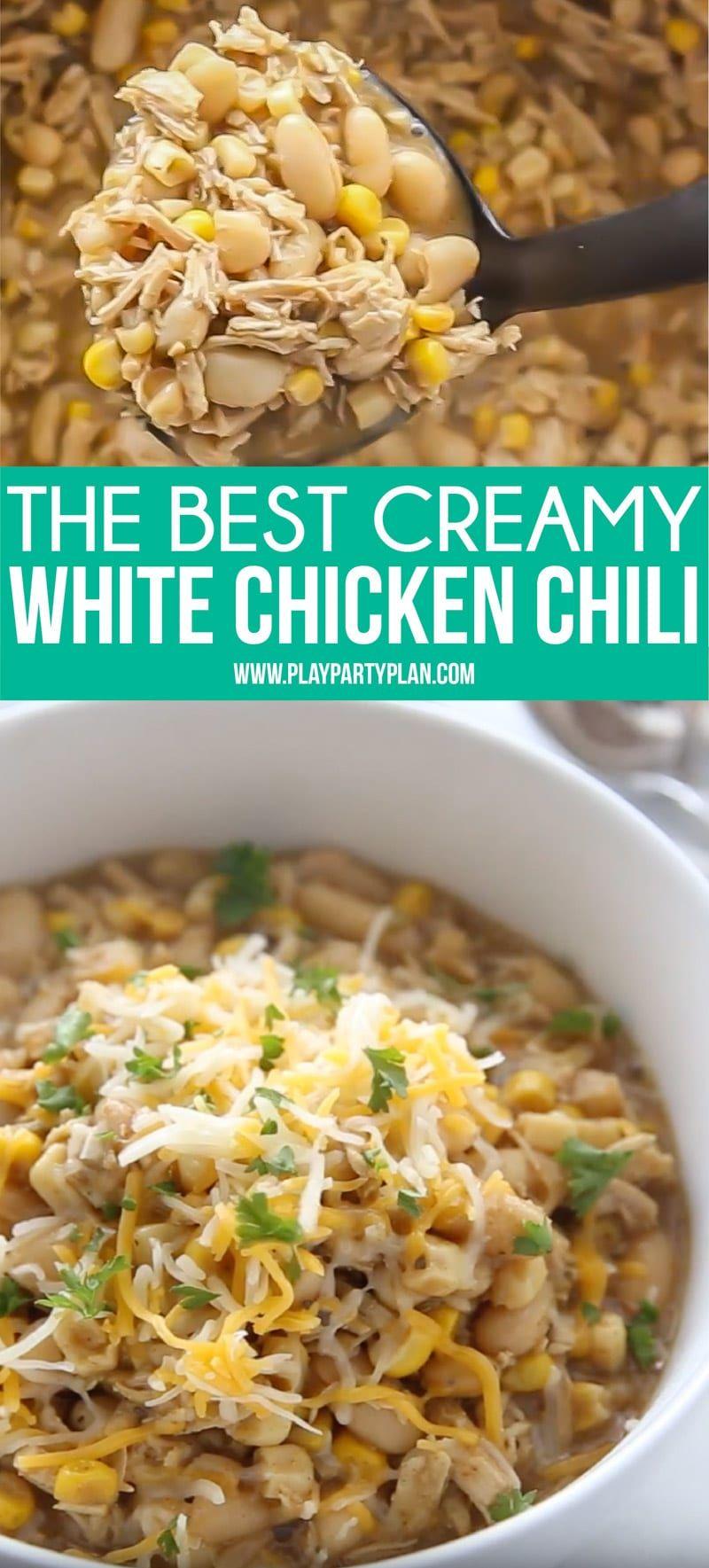 Everyone Will Love This Amazing White Chicken Chili Recipe It S A Deliciously Creamy White Be Bean Recipes White Chili Chicken Recipe White Bean Chicken Chili