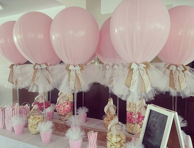 Hessian and lace on our signature tulle balloons for a for Baby dedication decoration