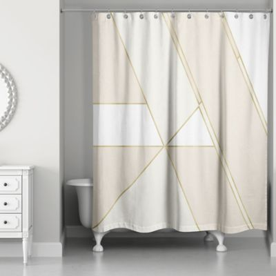 Color Block Shower Curtain In Gold Ivory Bedbathandbeyond Com
