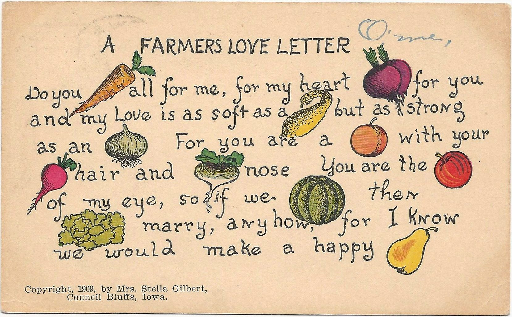 'A farmer's love letter' postcard. American (Iowa), 1909 (C) Nancy Rosin collection