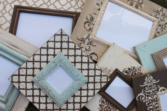 DIY frames... beautiful. These frames are from Esty.. very expensive ...