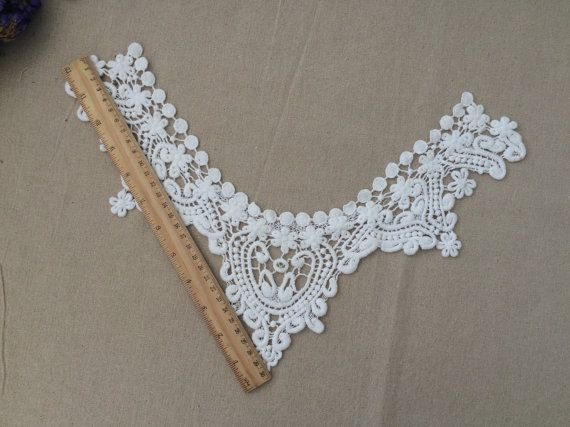 Ivory Cotton Lace Collar Embroidered Florals Collar Necklace