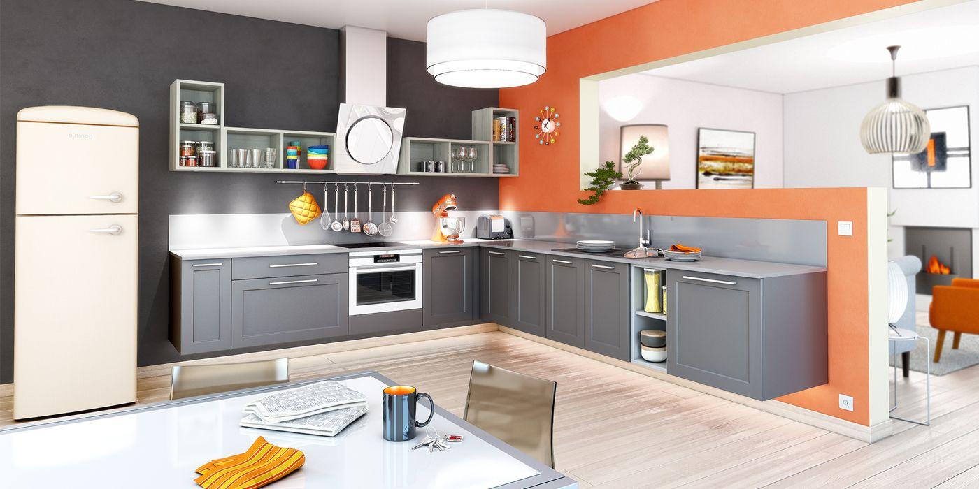 Cuisine ouverte coloris gris cuisines you mod le mars for Cuisine ouverte modele