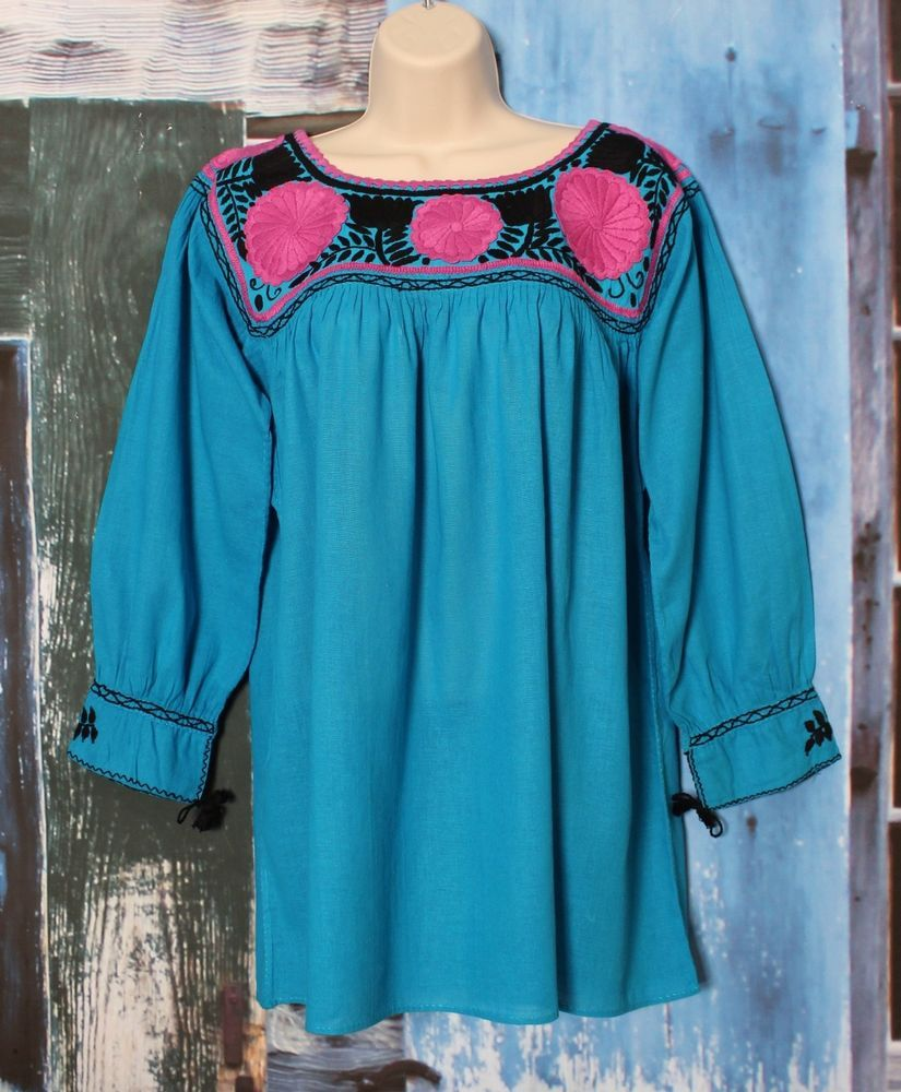 966b7f15f46fb Mexican Blouse Hand Embroidered 100% Cotton Chiapas Mayan Peasant Hippie  Boho  Handmade  blouse