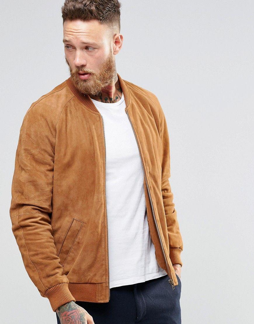 Asos Suede Bomber Jacket In Tan At Asos Com Suede Bomber Jacket Brown Leather Jacket Men Leather Jacket Men [ 1110 x 870 Pixel ]