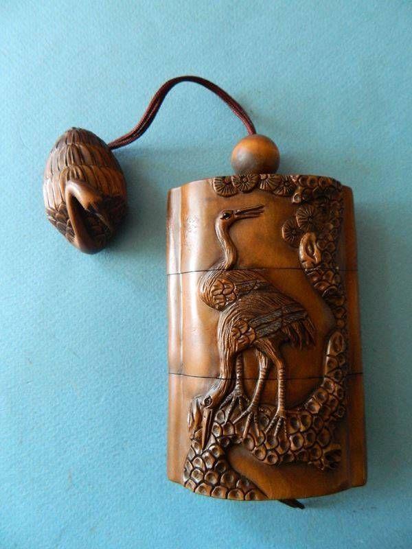 Fine 4 section hand carved Wood Vintage Inro & Netsuke Japan Stork Crane Birds