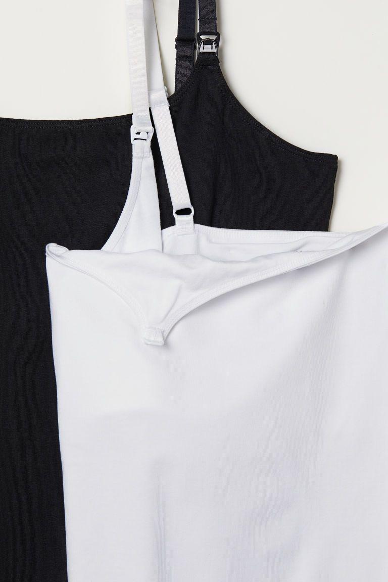 de2297c28bc MAMA 2-pack Nursing Tank Tops - White black - Ladies