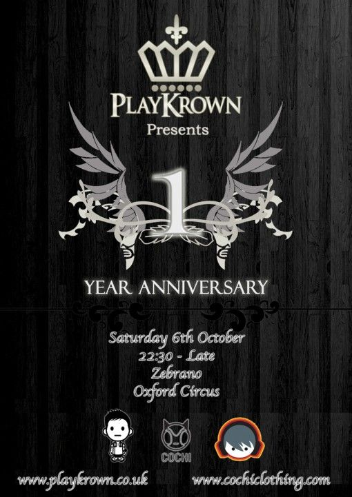 Playkrown  Year Anniversary Flyer  Playkrown