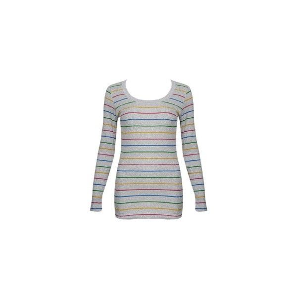 Rainbow Stripe LS Top review at Kaboodle ❤ liked on Polyvore featuring tops, shirts, long sleeves, shirt tops, long sleeve tops, extra long sleeve shirts, rainbow stripe shirt and long sleeve shirts