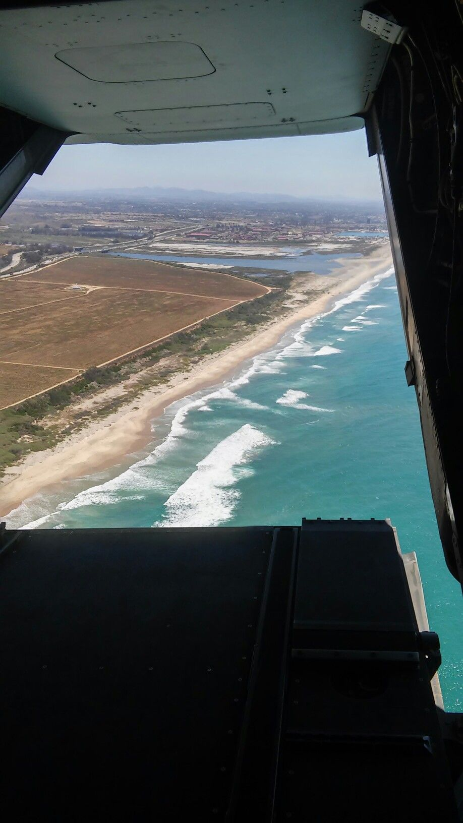 Flying in an mv22 over the ocean airplane view ocean