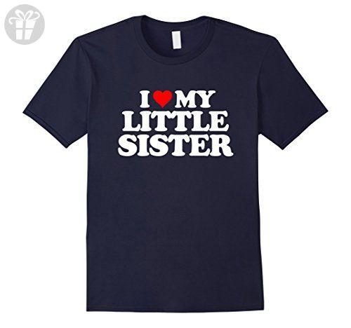 Men's I Love My Little Sister T Shirt - Heart Funny Fun Gift Tee XL Navy - Birthday shirts (*Amazon Partner-Link)