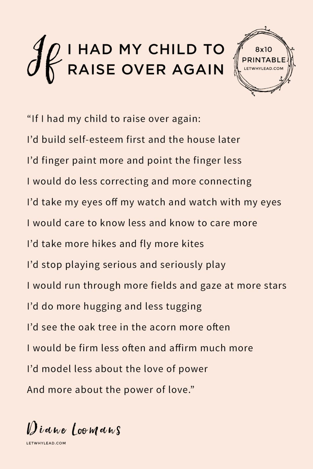 If I Had My Child to Raise Over Again | Printable