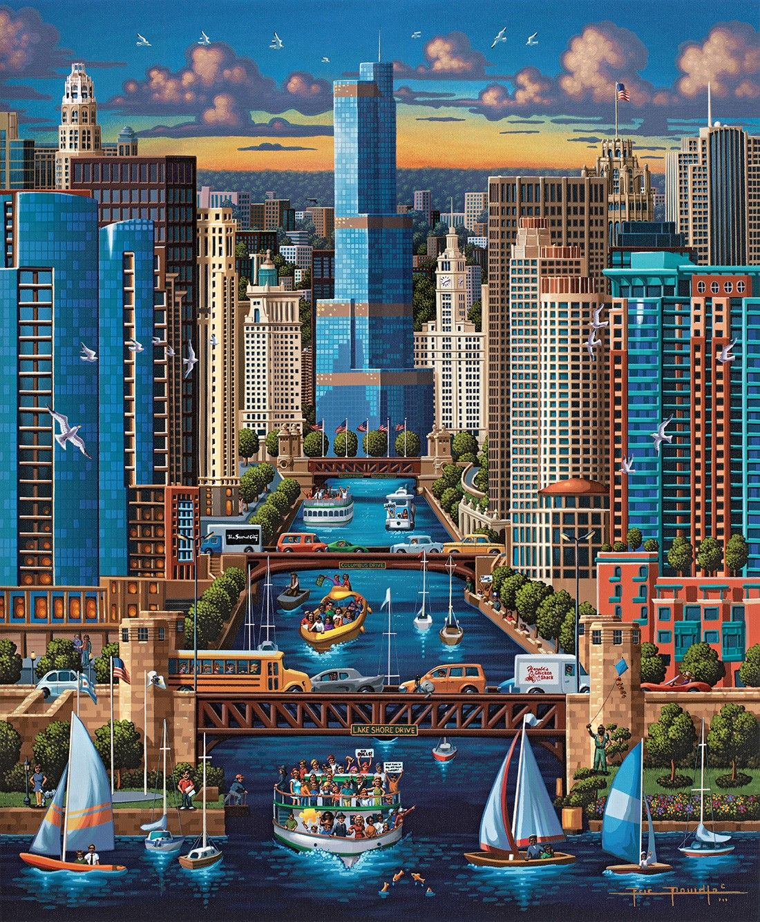chicago river,eric dowdle www.dowdlefolkart folk art great