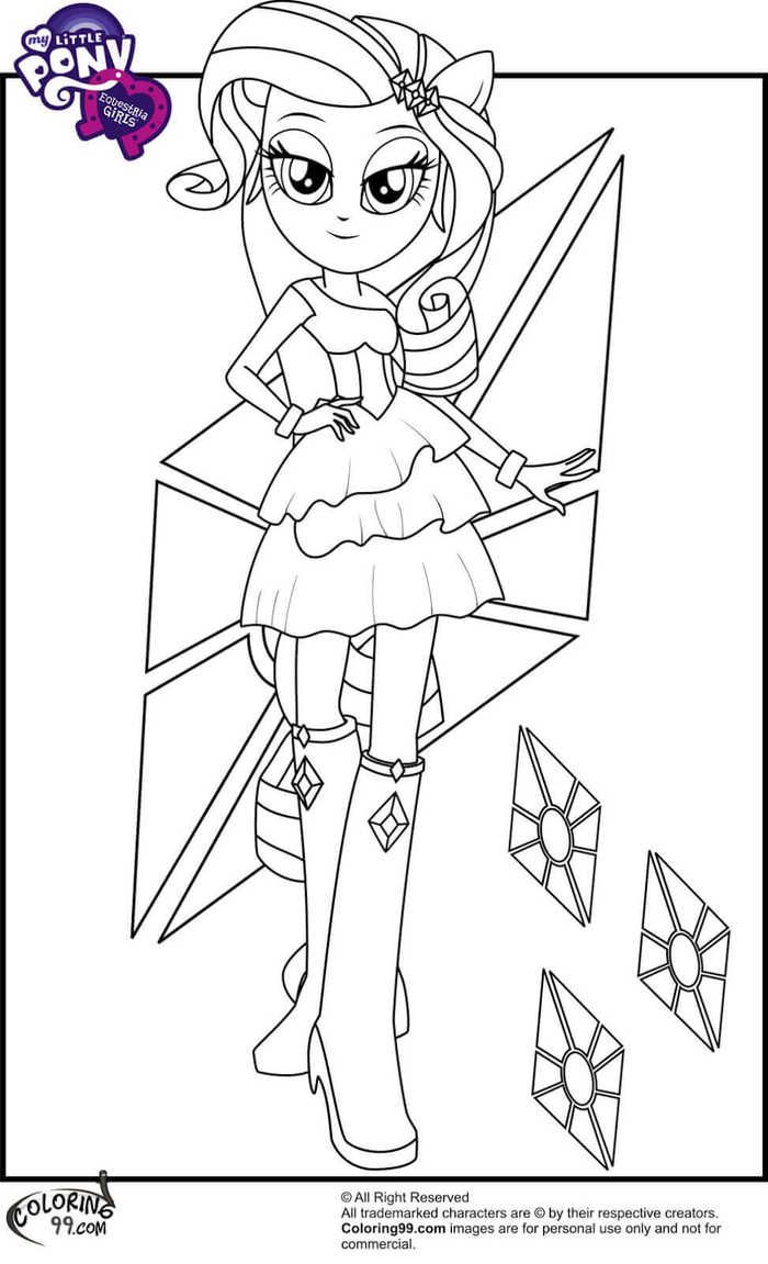 Adorable Rarity My Little Pony Equestria Girls Coloring Pages See