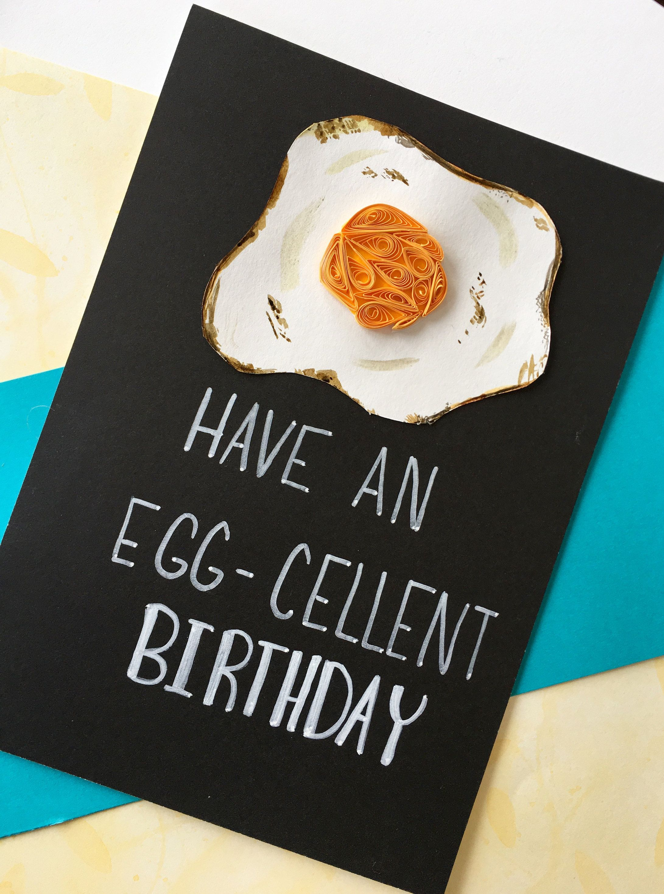 Funny birthday card quilling food puns greeting cards paper for husband boyfriend egg also rh pinterest