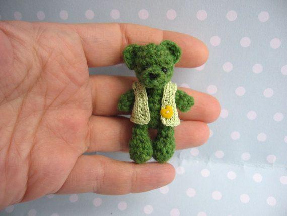 """OOAK Miniature Teddy Teddybear 5,5 cm. 2,1"""" Handmade Teddy. Crochet Teddy"""