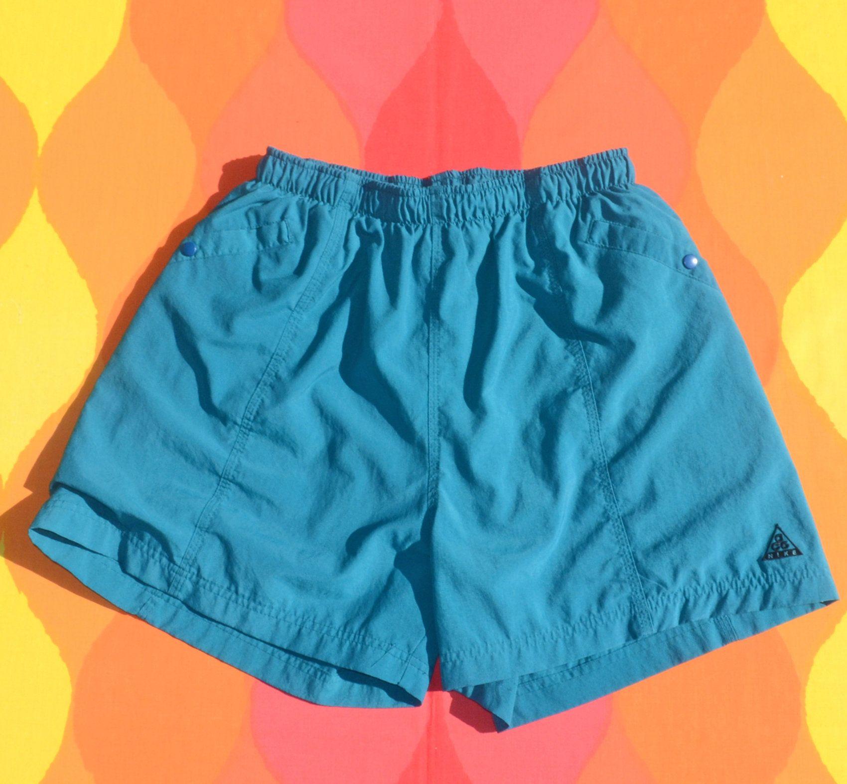 021ba80216ad5 vintage 90s shorts NIKE ACG bathing suit swim trunks lined teal Medium