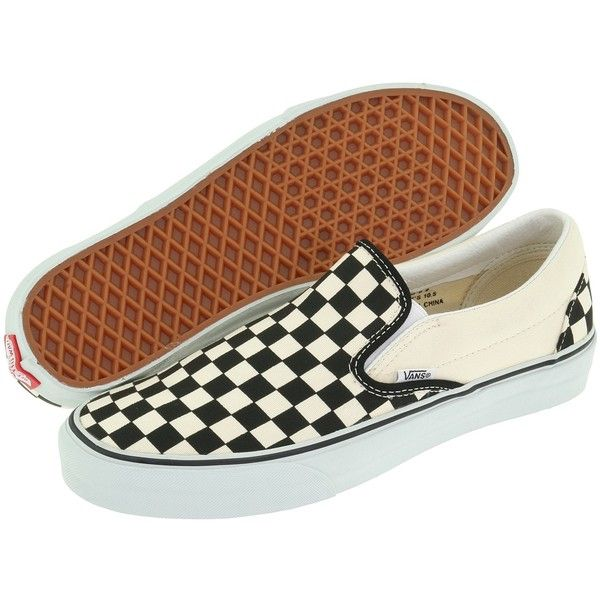 Vans Classic Slip-On Core Classics (Black and White Checker/White... (65 CAD) ❤ liked on Polyvore featuring shoes, sneakers, vans, flats, scarpe, white flat shoes, white flats, black and white sneakers, white slip on shoes and black white sneakers