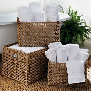 Towels Rolled In Baskets Next To The Tub Very Spa Like Bathroom Organization Decor Wicker Towel Basket