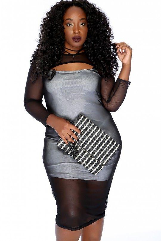 Sexy Black White Quarter Sleeve Knee Length Sheer Plus Size Dress