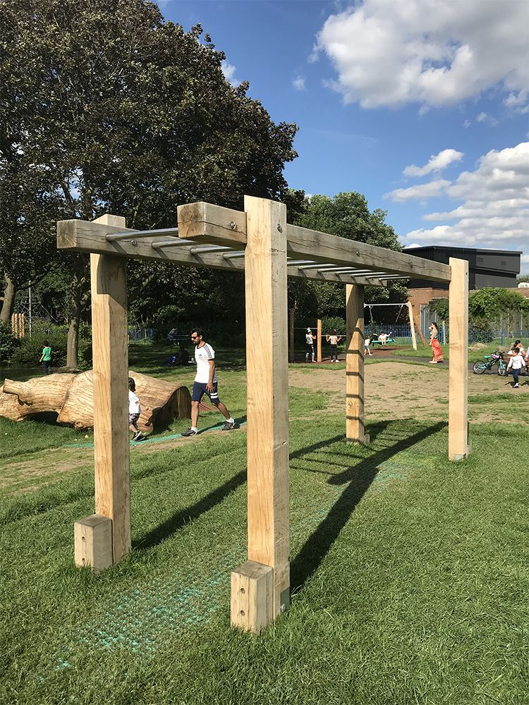 Wooden Monkey Bars in 2020   Backyard, Backyard gym ...