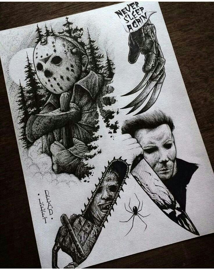 Horror Tattoos Designs : horror, tattoos, designs, Horror, Tattoo, Flash, Sheet., Movie, Tattoos,, Halloween, Scary, Tattoos