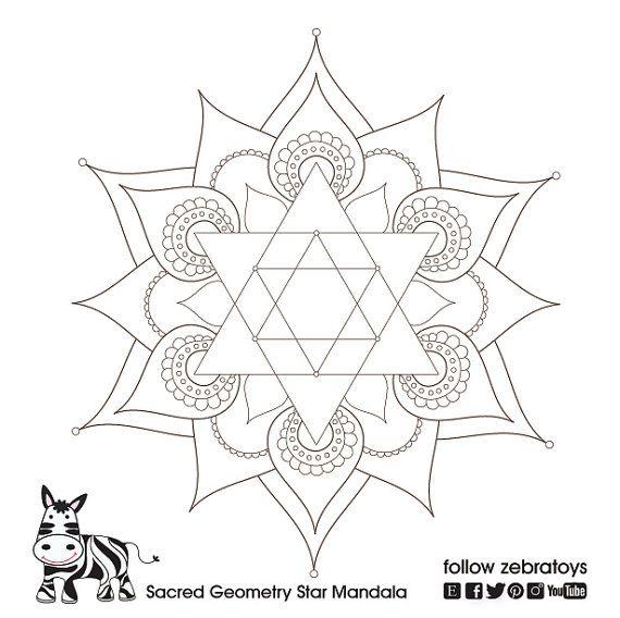 Star of david sacred geometry symbol mandala healing for Jewish mandala coloring pages