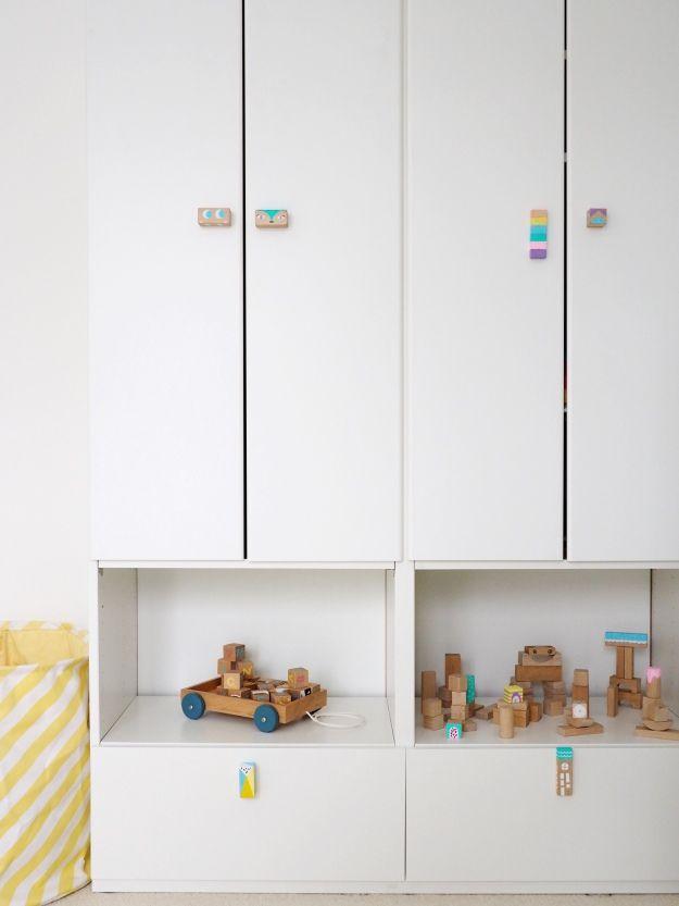Möbelgriffe selber machen Kinderzimmer DIY Bauklötze