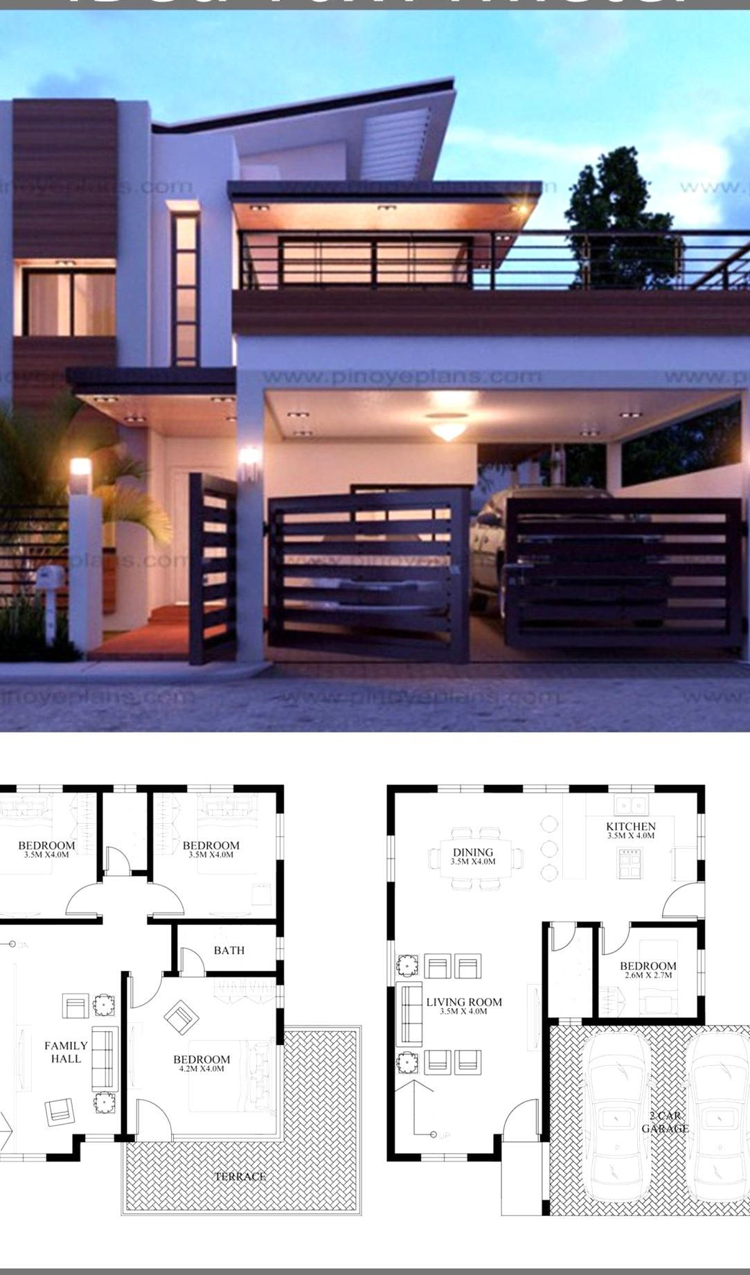 Modern Home Design 10x11m With 4 Bedrooms Home Ideas Modern Home Design 10x11m With 4 Bedr In 2020 Bungalow House Design Duplex House Design 2 Storey House Design
