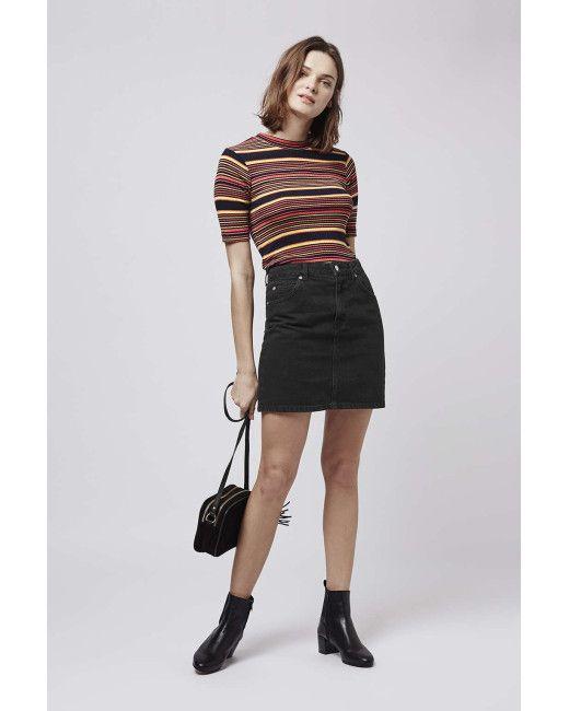 topshop-black-petite-moto-high-waist-denim-skirt-product-4 ...