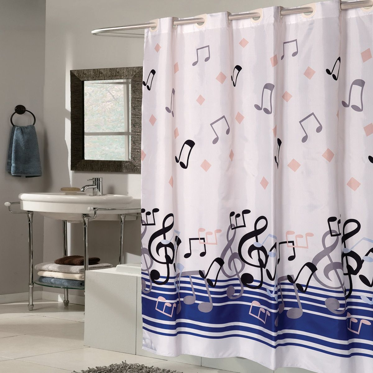 Ez On Blue Music Note Fabric With Built In Hooks Shower Curtain