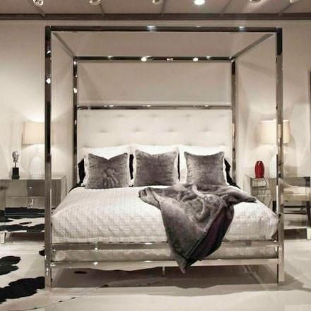 Polished Stainless Steel Canopy Four Poster Bed Bed Down