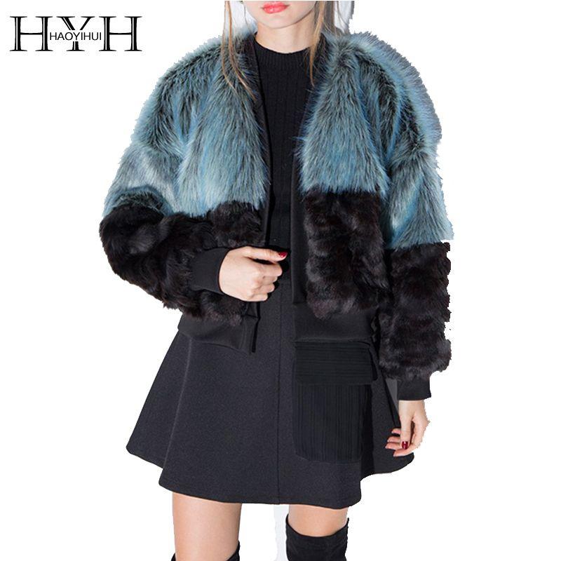 HYH HAOYIHUI 2016 New Autumn Fashion Women V-Neck Warm Long Sleeve Short Outwear Contrast Vintage Elegant Faux Fur Coat